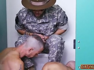 Muscle military interracial with cumshot