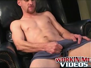 Bearded amateur jerks his big cock until it spills warm cum