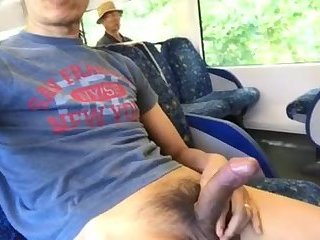 Old dude catches me playing with my cock on the train
