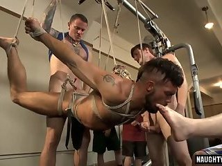 Big dick slave bound with cumshot