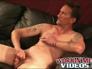 Tattooed senior gets a finger in his ass and sucks cock