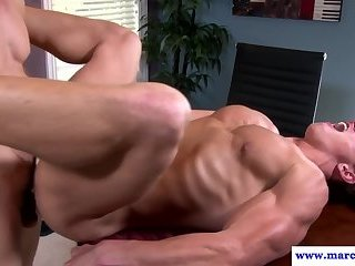 Dicksucking hunk banged while wanking cock