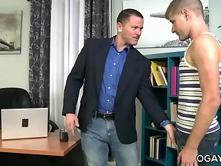 Max Cameron fucks his old friend in the office