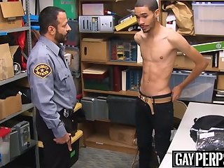 Skinny black thief bareback screwed by horny officer