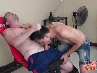 Daddy plows Asian twink Argie after a hard and long workout