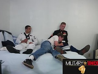 Military Uncovered Navy Marine Threesome
