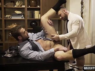 Naughty gay domination with cumshot