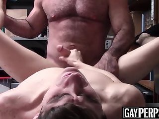 Sexy young thief sprays warm cum while being bareback fucked