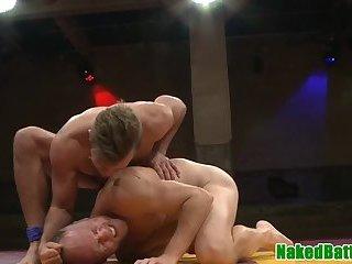 Jizzcovered stud wrestles muscular jock