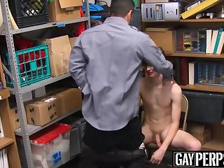 Cute young thief gets his sexy face jizzed on for stealing