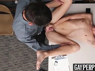 Twink security officer raw fucks inked suspects tight ass