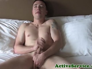 Solo military stud jerking off teasingly