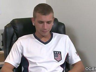 Athletic gay storking his huge cock