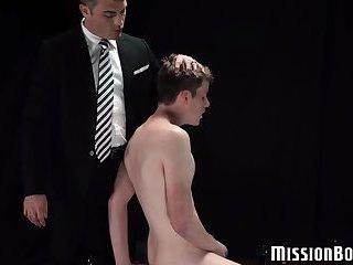 Good looking twink has bareback action with Mormon elder