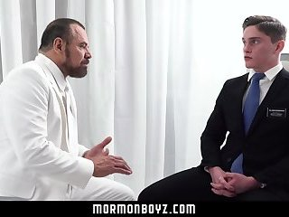 MormonBoys - Handsome missionary jock gets touched by daddy priest