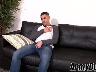 Solo masturbation with tattooed hairy army hunk with stiff cock