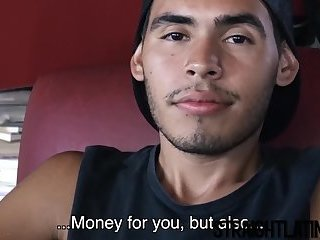 Latino twink offered money to suck cock and get fucked hard