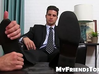 Classy jock in the suit getting his feet licked by a bearded daddy
