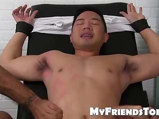 Asian jock Cooper Dang getting his feet and body tickled hard