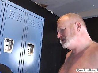 Inked bear bottoms during lockerroom sex