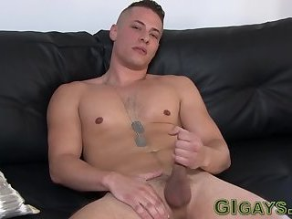 Muscly soldier shoots sperm
