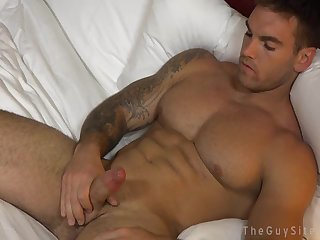 Hot ruffian plays with his dick while watching porn