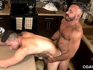 Homo mature men fuck in the kitchen