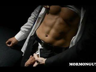 Mormon Latino Jock With Big Cock Oiled And Masturbates In Front Of Masked Church Man
