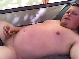Camping chub jerks off in his tent