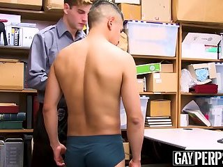 Young Latino devastated by security officers bare fat dick