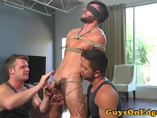 Edged stud blindfolded by maledom hunks