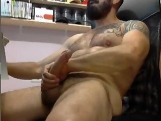 Macho dilf playing with his big dick on cam