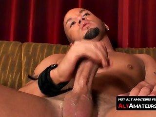 Handsome alt man masturbates solo with his big cock