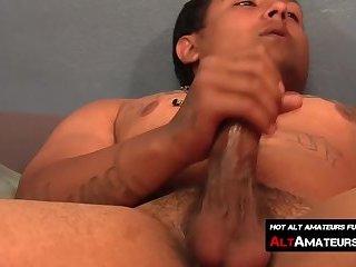 Solo masturbating session with kinky Latino thug and his big rod