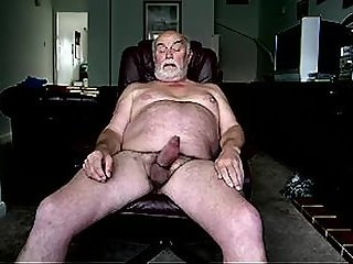 Papa jerking his big uncut cock