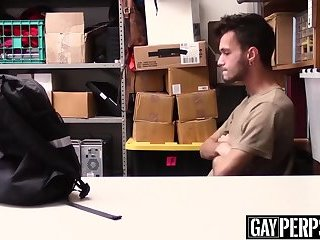 Young perp anally banged by an officer with a big dick