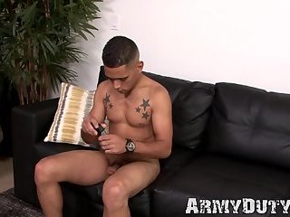 Hung army jock tends for his penile health thru masturbation
