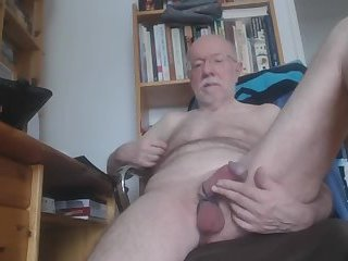 Grandad playing with his cock and balls
