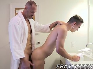 Lusty daddy drills his stepson with hard raw fucking