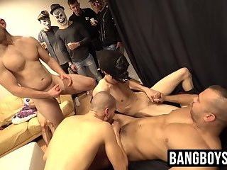 Lusty twink guests take turn blowing one hard fuck stick