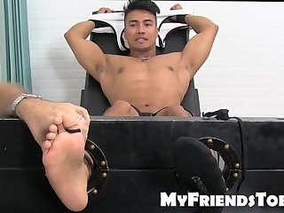 Extremely ticklish jock tied up for a session with master