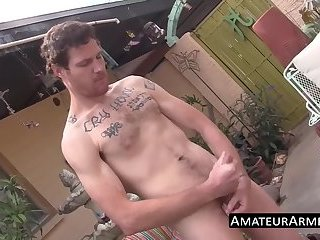 Outdoor solo wanking show with hairy deviant stud
