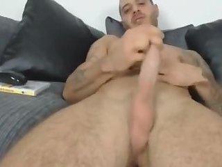 Hot tattoo'd cock stroker