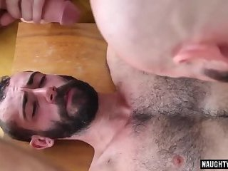 Hairy gay threesome and cumshot