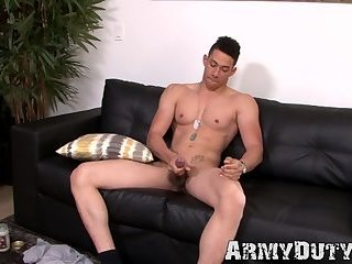 Muscular soldier takes care of his rock solid cock