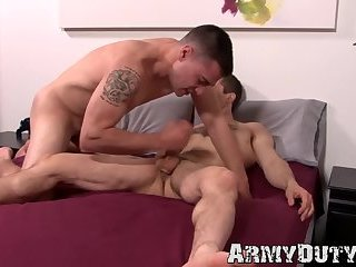 Bottom army gay boy receives hardcore ass fucking from stud
