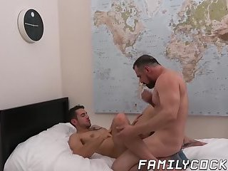 Big dicked daddy penetrates his stepsons tight asshole
