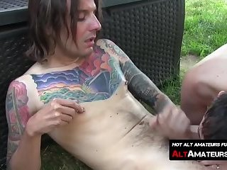 Young tattooed skater twink gets his cock deepthroated in the pool