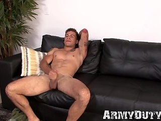 Ripped soldier stud working hard on his thick long dick