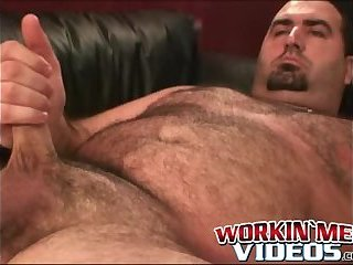 Old hairy dude jacks off hairy dick and unloads jizz solo